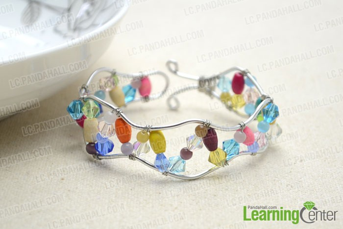 finished wire wrapped bracelet with beads