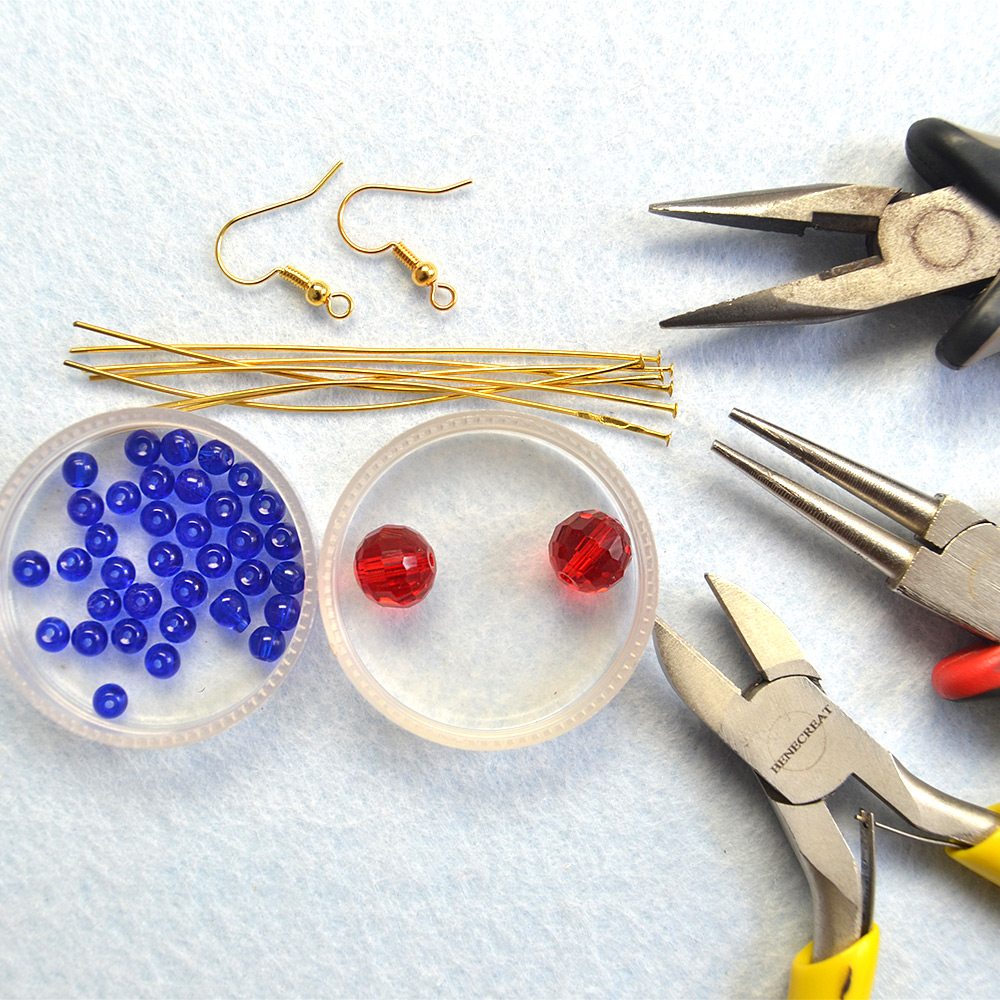 Supplies needed to make the beaded dangle earrings
