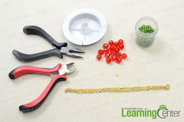 Supplies needed for making a beaded garland