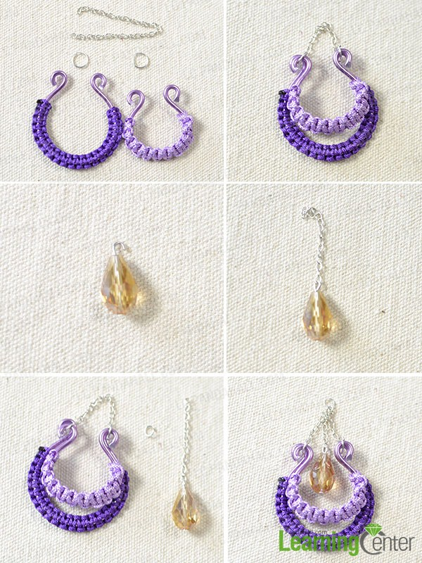 How To Make A Pair Of Purple Color Thread Wrapped Earrings Step By