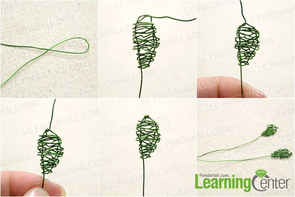 Make leaves with green brass wire