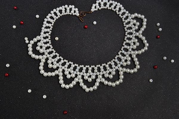 pearl bead flower choker necklace