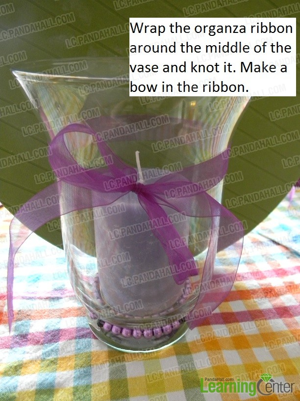 wrap the organza ribbon and make a bow