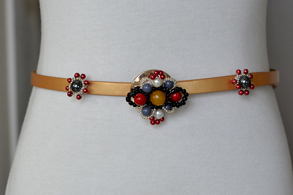 final look of the recycled beaded flower leather belt