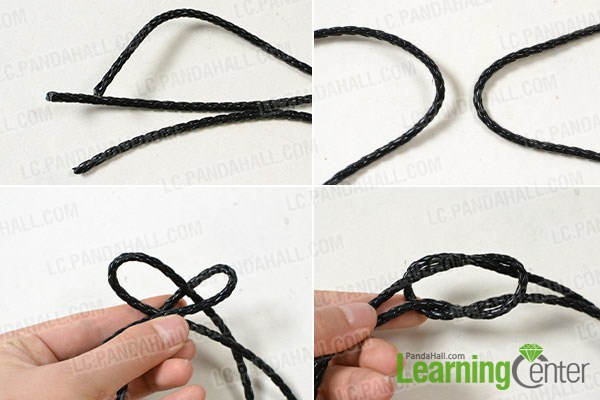 make the first part of the black leather cord bracelet
