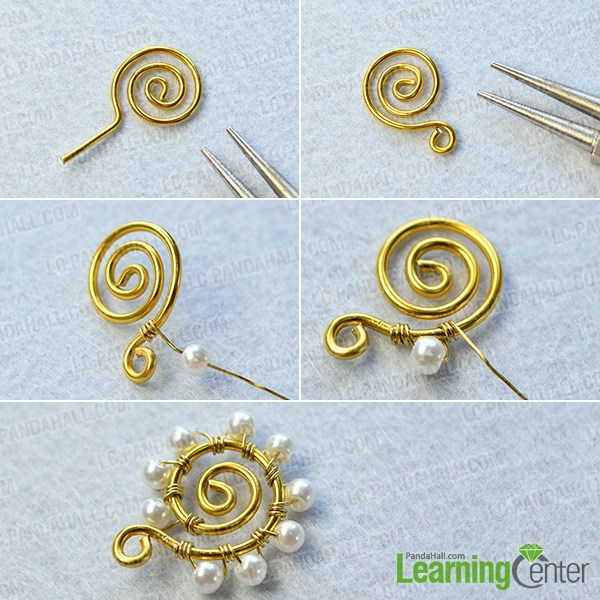 make the first part of the wire wrapped pearl earrings