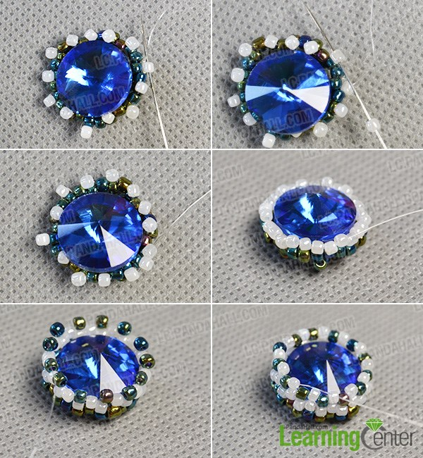 Add more seed beads to enclose the back rhinestone bead