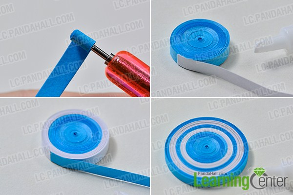 make the blue quilling paper flower pot