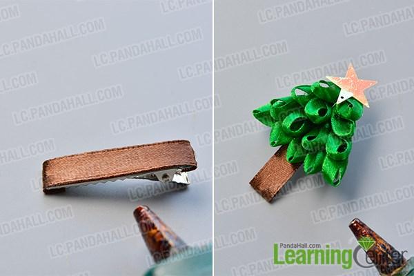 Finish the Christmas tree hair clip