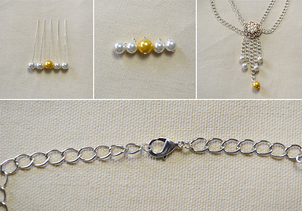 How to Make Easy Flower Bead Chain Necklace in 10 Minutes 3