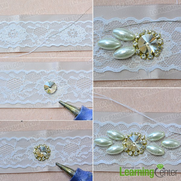 make the first part of the ribbon waist belt with pearl beads