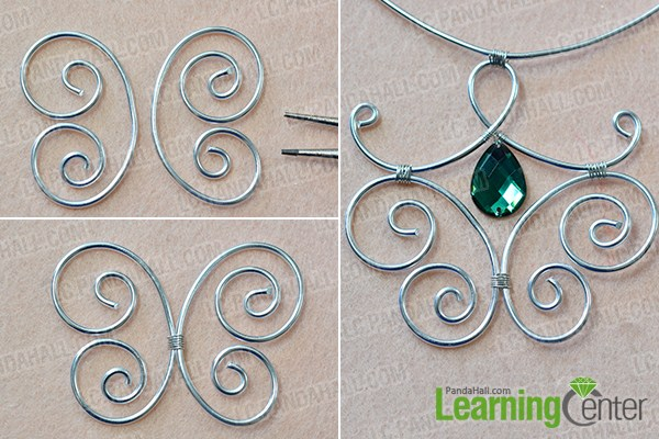 make the second part of the wire wrapped pendant necklace