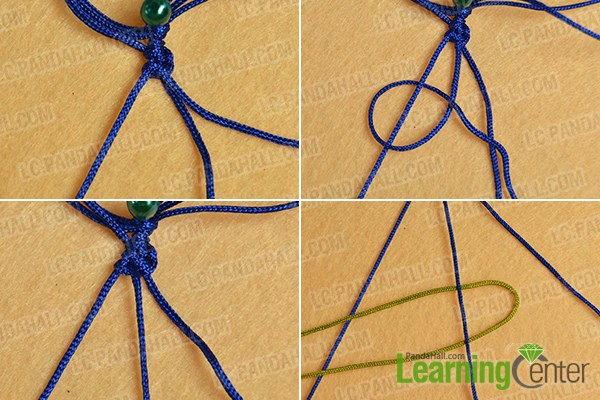 Make the fourth part of the ethnic braided friendship bracelet