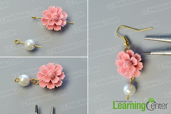 make the basic part of the flower dangle earrings