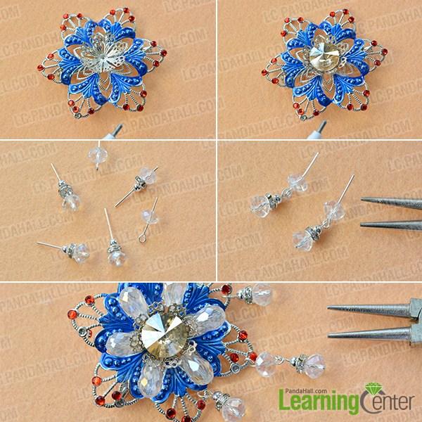 Add glass and rhinestone beads ornament