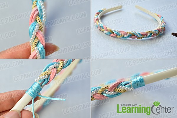 make the first part of the pearl beads and cords braided headband
