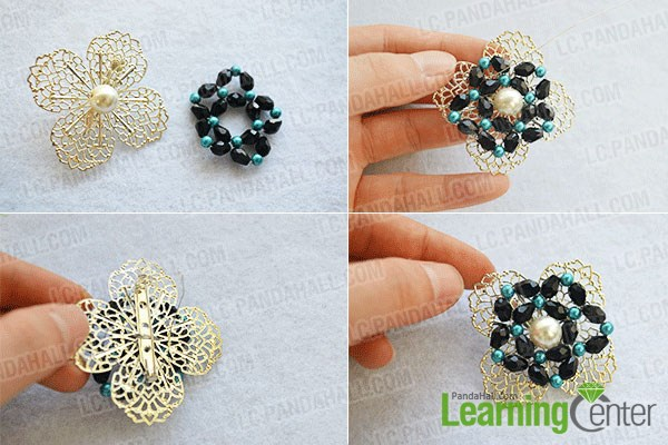 How to DIY Vintage Style Pearl Brooch with Glass Beads 5