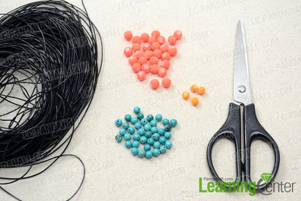 Supplies needed for making the multi-strand bracelet