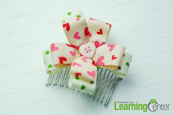 finished ribbon flower hair comb