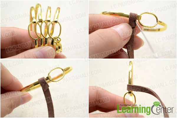 arrange the bangles and sew the suede cord on lest-most one