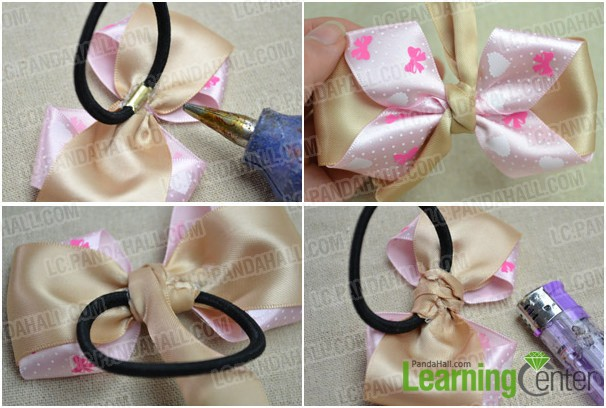 Stupendous How To Make A Simple Hair Bow Out Of Bicolored Ribbons Pandahall Com Short Hairstyles Gunalazisus