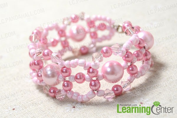 finished pink pearl bead bracelet