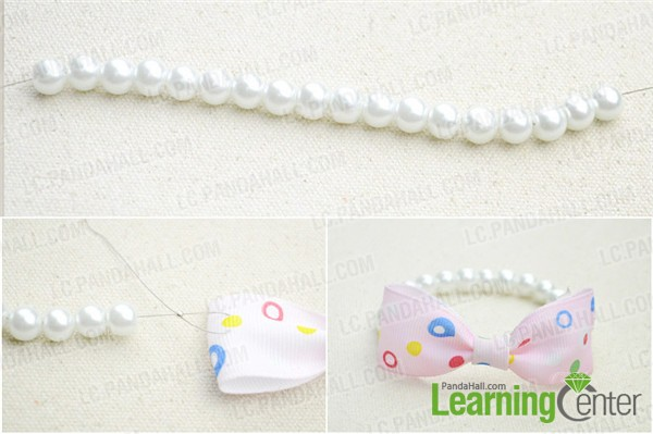 attach pearl strand to bow knot