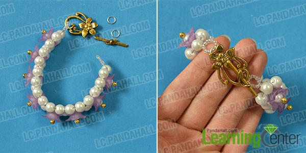 Finish making the flower beaded bracelet