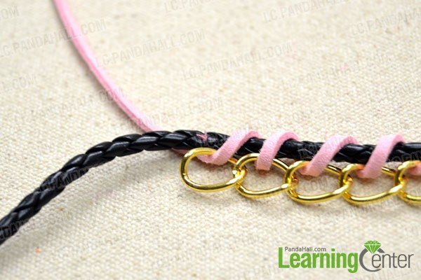 sew the two cords together as did at beginning