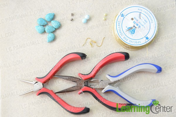 Materials and tools for making turquoise earrings