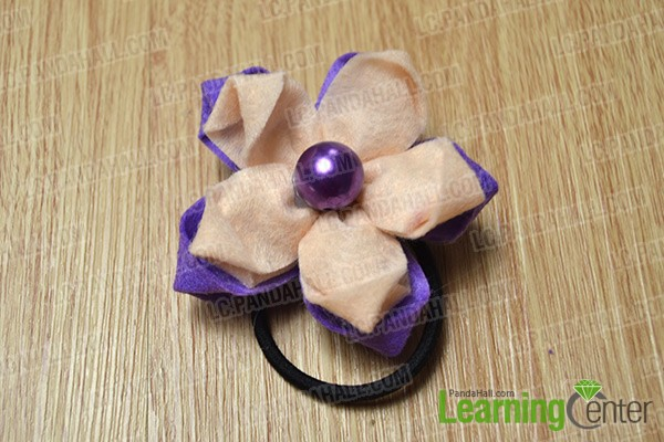 finished two-tone orchid flower hair tie