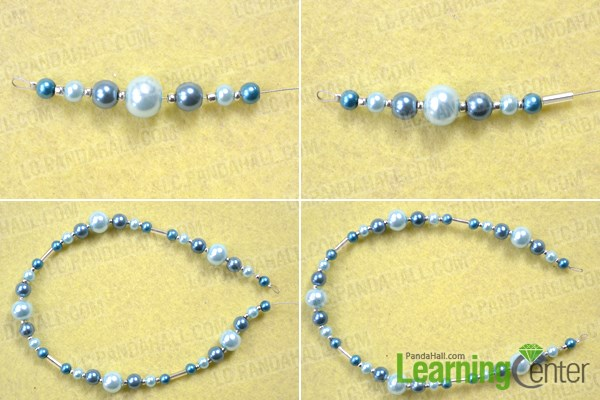 String the second strand for making triple strand pearl necklace