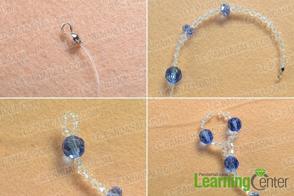 make the first part of the blue glass bead necklace