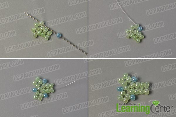 Step 3: Start to slide light blue seed beads