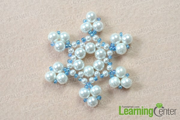 Finish the beaded snowflake ornament