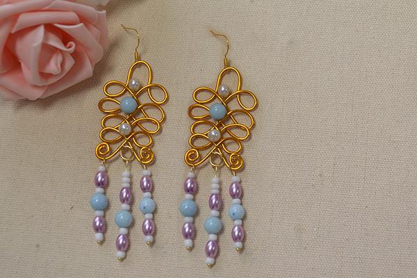 final look of the elegant wire wrap bead drop earrings