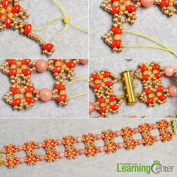 Finish the seed bead bracelet pattern