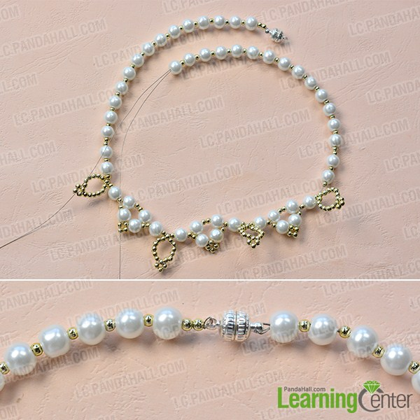 make the second part of the homemade white pearl bead necklace