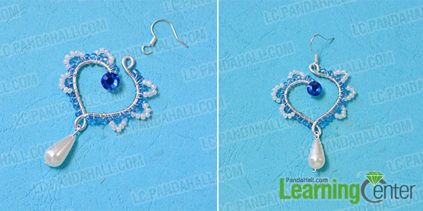 Complete the wire wrapped heart dangle earrings