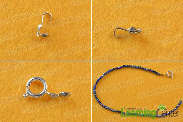 make the first part of the homemade blue seed beaded anklet