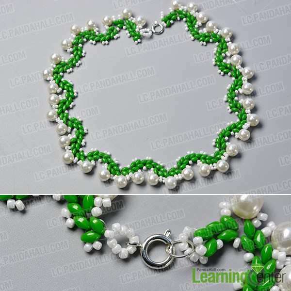 Finish the 2-hole seed bead necklace