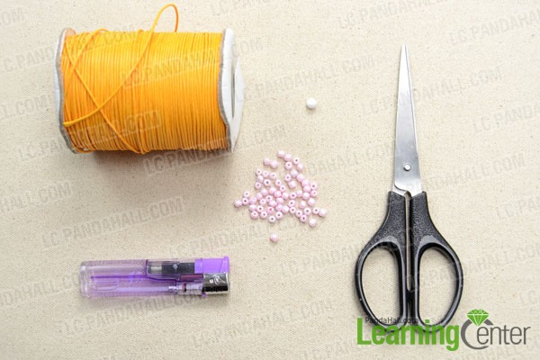 Supplies needed for making the knotted bracelet