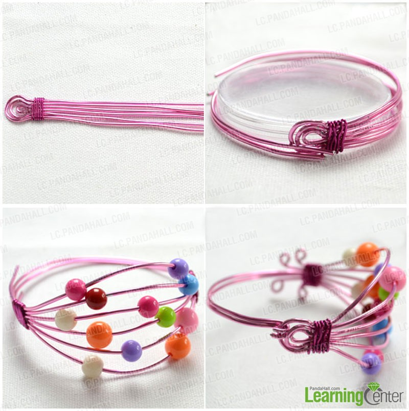 Steps for wire bead bracelet