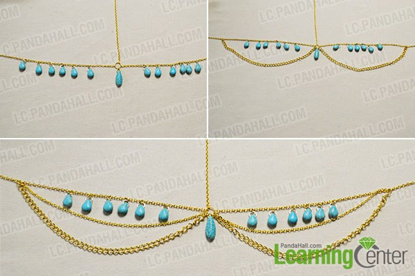 finish the turquoise chain headpiece