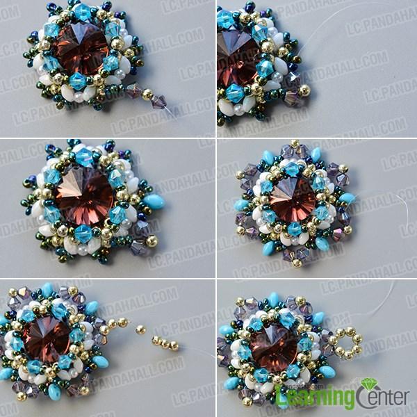 Finish the beaded flower pendant