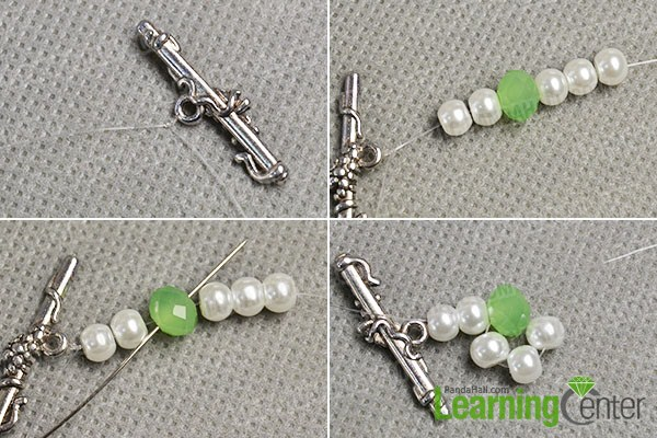 make the first part of the white pearl bead bracelet