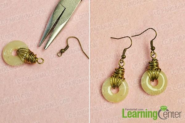 Finish the DIY gemstone earrings