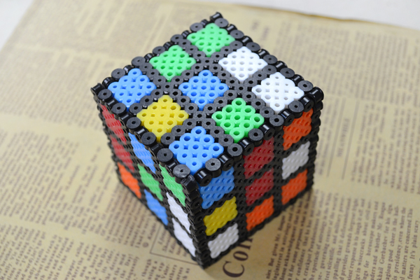 the final look of 3D perler bead cube design
