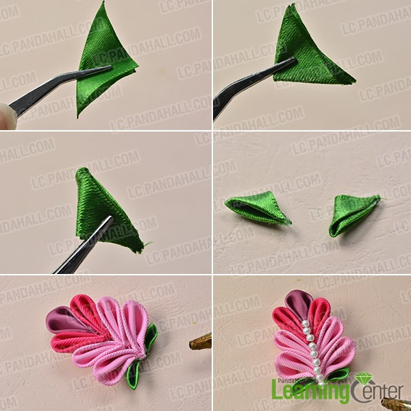 how to make ribbon leaves