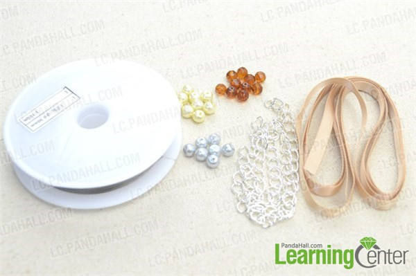 Materials needed for making 3-strand pearl and ribbon bracelet